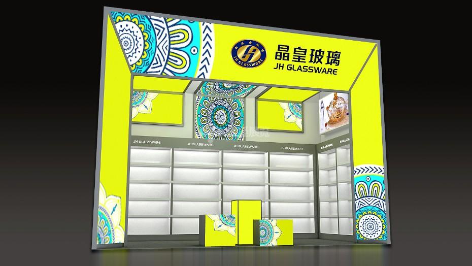 晶黄玻璃展台+广交会展台设计搭建